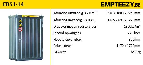 Opslag gevaarlijke stoffen - Brandwerende container EBS1-14