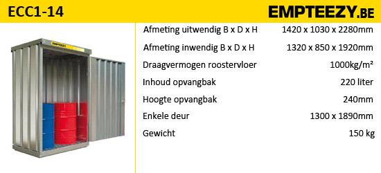 Opslag gevaarlijke stoffen - opslagcontainer ECC1-14