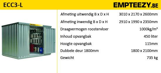 Opslag gevaarlijke stoffen - opslagcontainer ECC3-L