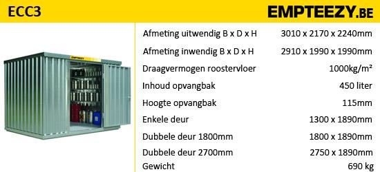 Opslag gevaarlijke stoffen - opslagcontainer ECC3